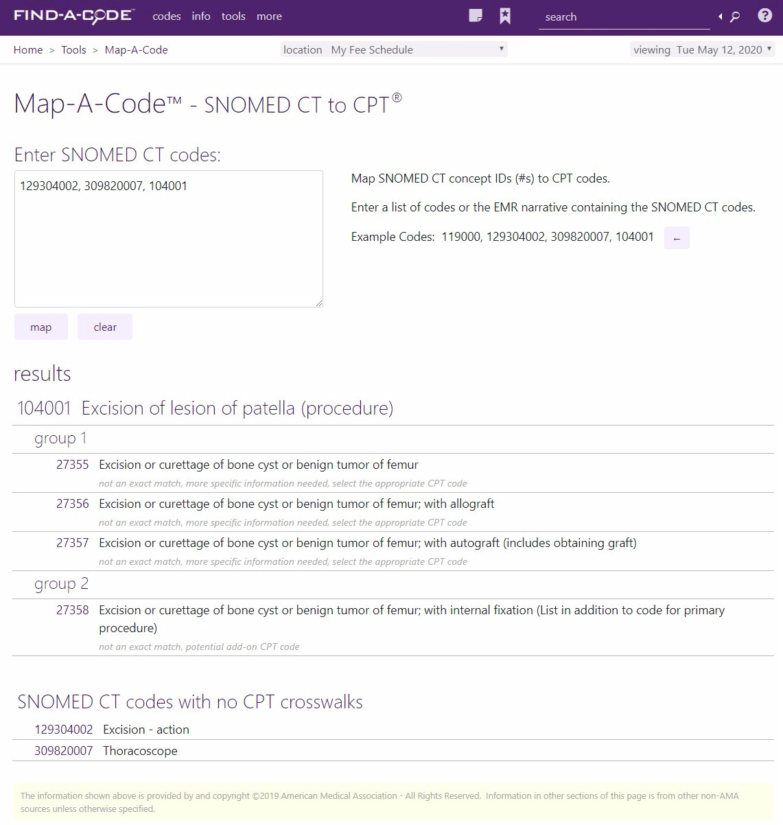 Map-A-Code tool for SNOMED CT to CPT crosswalks