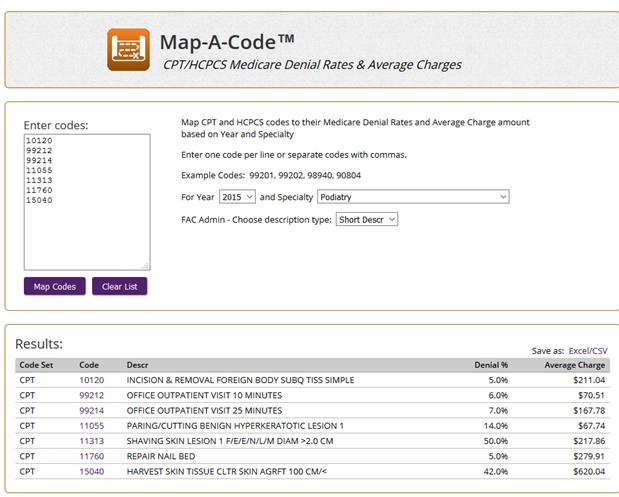 Map a code